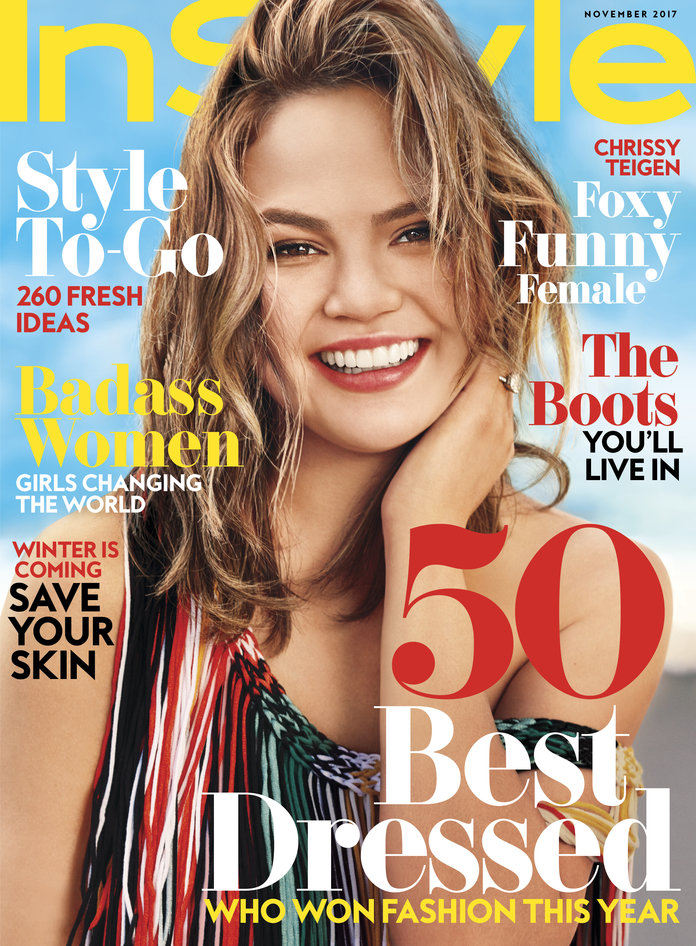 chrissy teigen on the november 2017 cover of instyle magazine. Black Bedroom Furniture Sets. Home Design Ideas