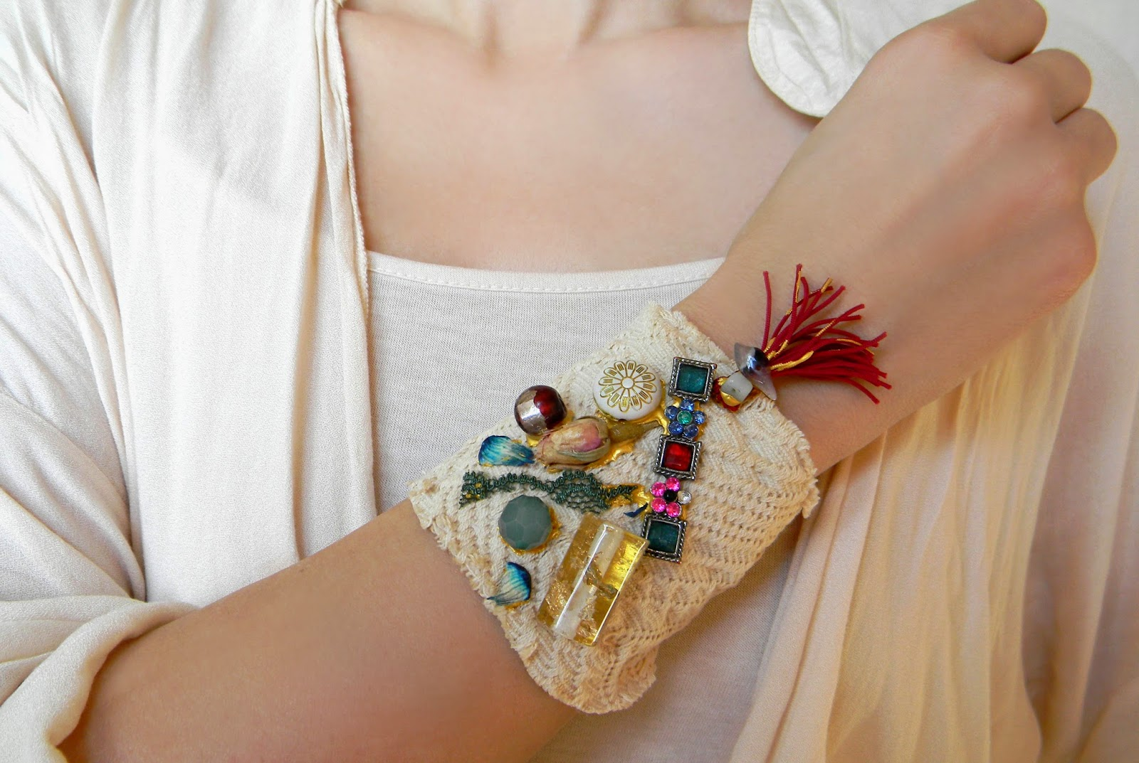 Eco chic Textile Bracelet, Gypsy Bohemian Linen Brocade Cuff with Beads and Red Fringe