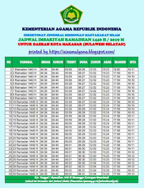 Jadwal Imsakiyah Puasa Ramadhan 2019 (1440 H) Kota Makasar