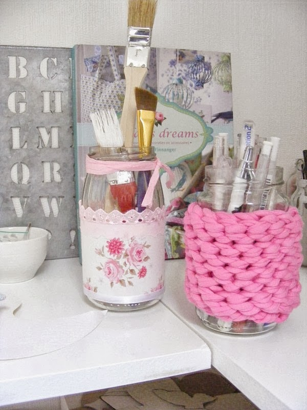 Tilda and crochet jars