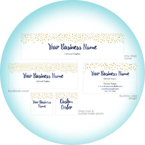 Gold Glitter & Elite Blue! Etsy banner package from Pixel Berry Pie Designs