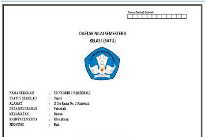 Daftar Nilai K 13 Kelas 1 s.d. 6 Semester 2