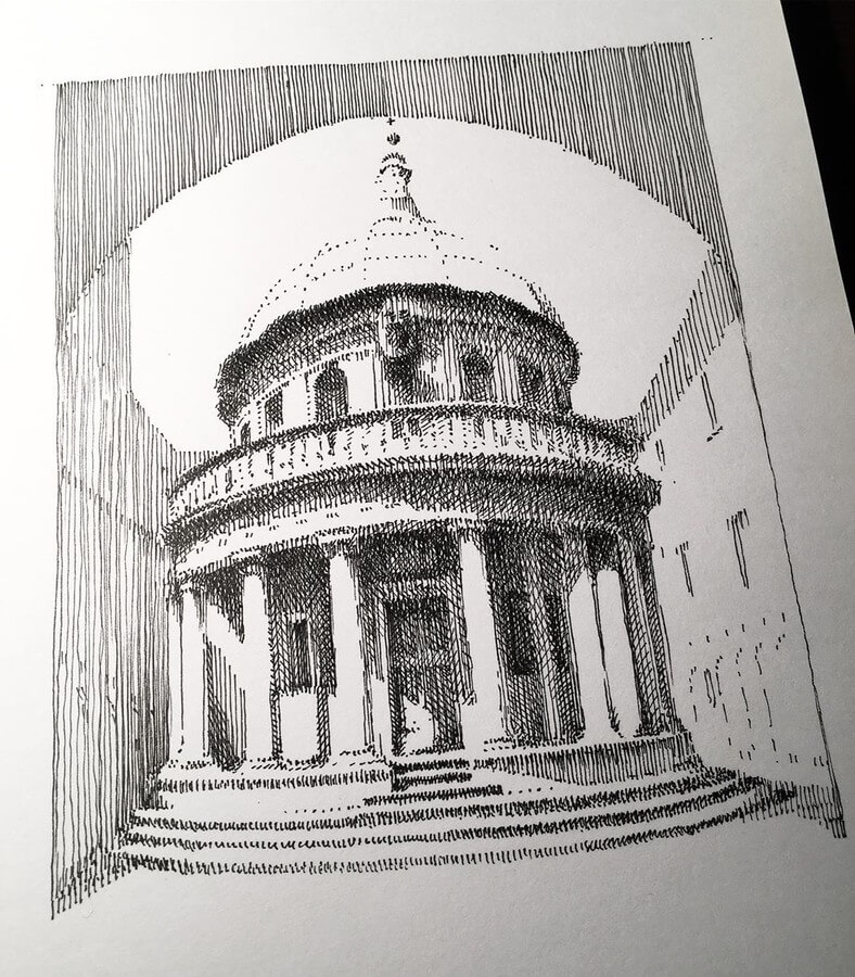 01-Rome-Tempietto-Mark-Poulier-Eclectic-Mixture-of-Architectural-Drawings-www-designstack-co