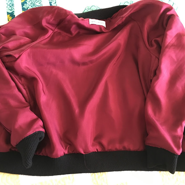 Mood Fabrics' Rayon Silk Velvet bomber jacket using McCall's 7100- lining