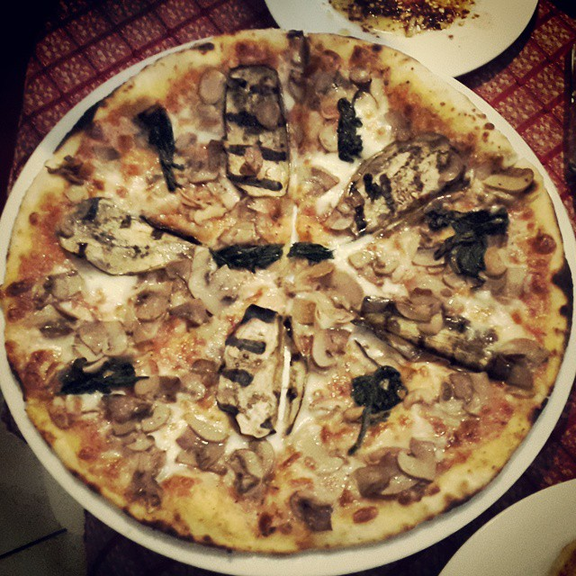 Pizza with eggplant,