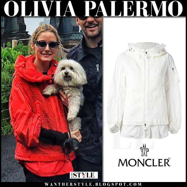 Olivia Palermo in red hooded Moncler jacket what she wore streetstyle