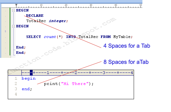 different spaces for each text editor