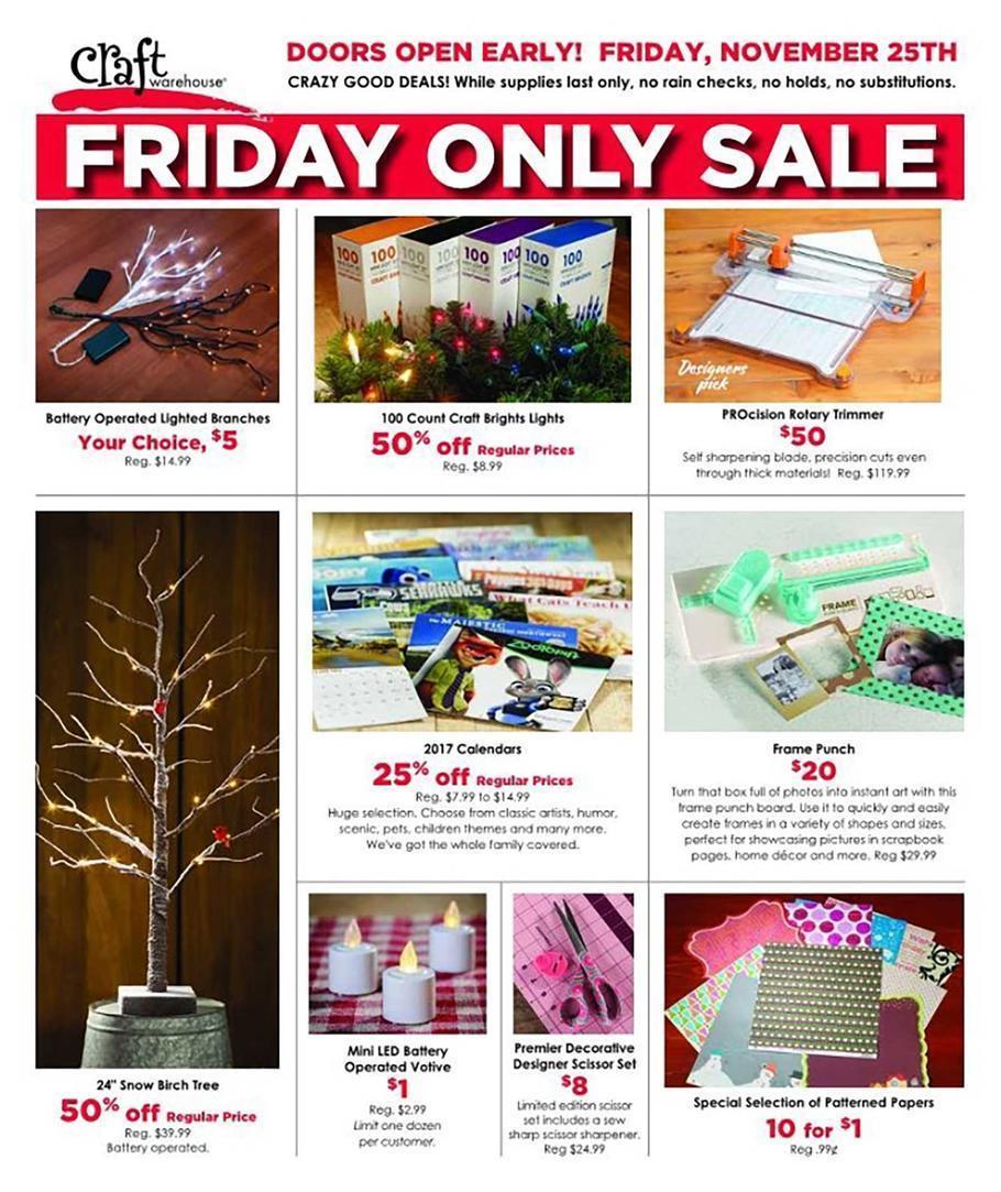 Craft Warehouse Black Friday Deals 2016