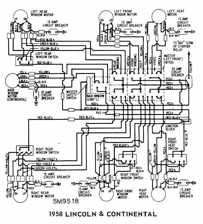 Lincoln    and    Continental    1958 Windows    Wiring       Diagram      All
