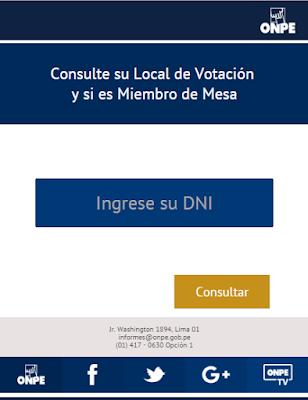 Dónde me toca votar Onpe Miembros de mesa Elecciones 2016 Perú presidenciales