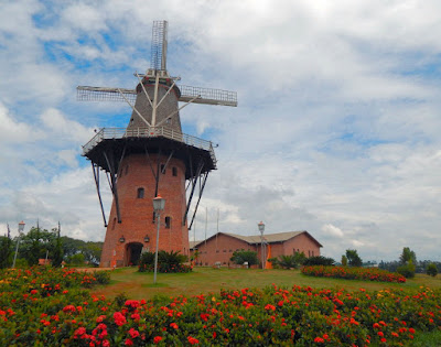 O Moinho Povos Unidos possui 38 metros de altura e é totalmente funcional, tendo sido construído sob a orientação de um arquiteto holandês octogenário, um dos últimos especialista em moinhos de tal porte.