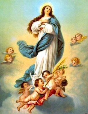 Imagen de la Virgen de la Asunción a color para niños