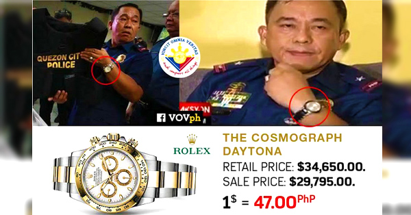 Police general involved in illegal drugs has Rolex worth P1.6M