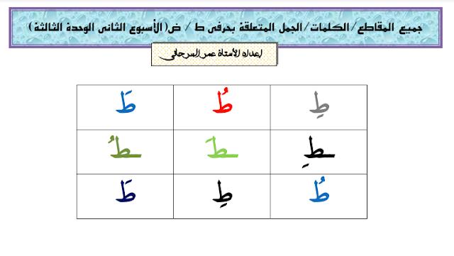 جميع المقاطع/الكلمات/الجمل المتعلقة بحرفي ط / ض الأسبوع الثاني الوحدة الثالثة للمستوى الأول ابتدائي