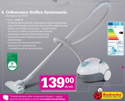 Odkurzacz 1000W Hoffen Systematic Biedronka ulotka