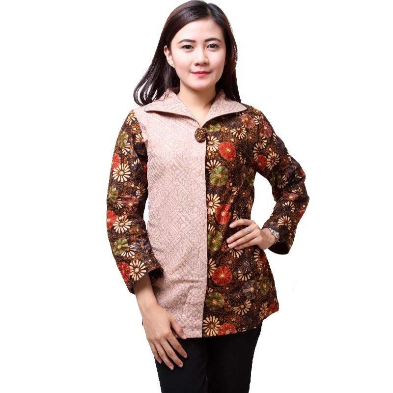Baju Batik Wanita Kantor Lengan Panjang. Baju Batik Wanita Kombinasi Kain  Polos 04087e3d30