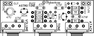 diy guitar pedals PCB Layout Astro tune fuzz