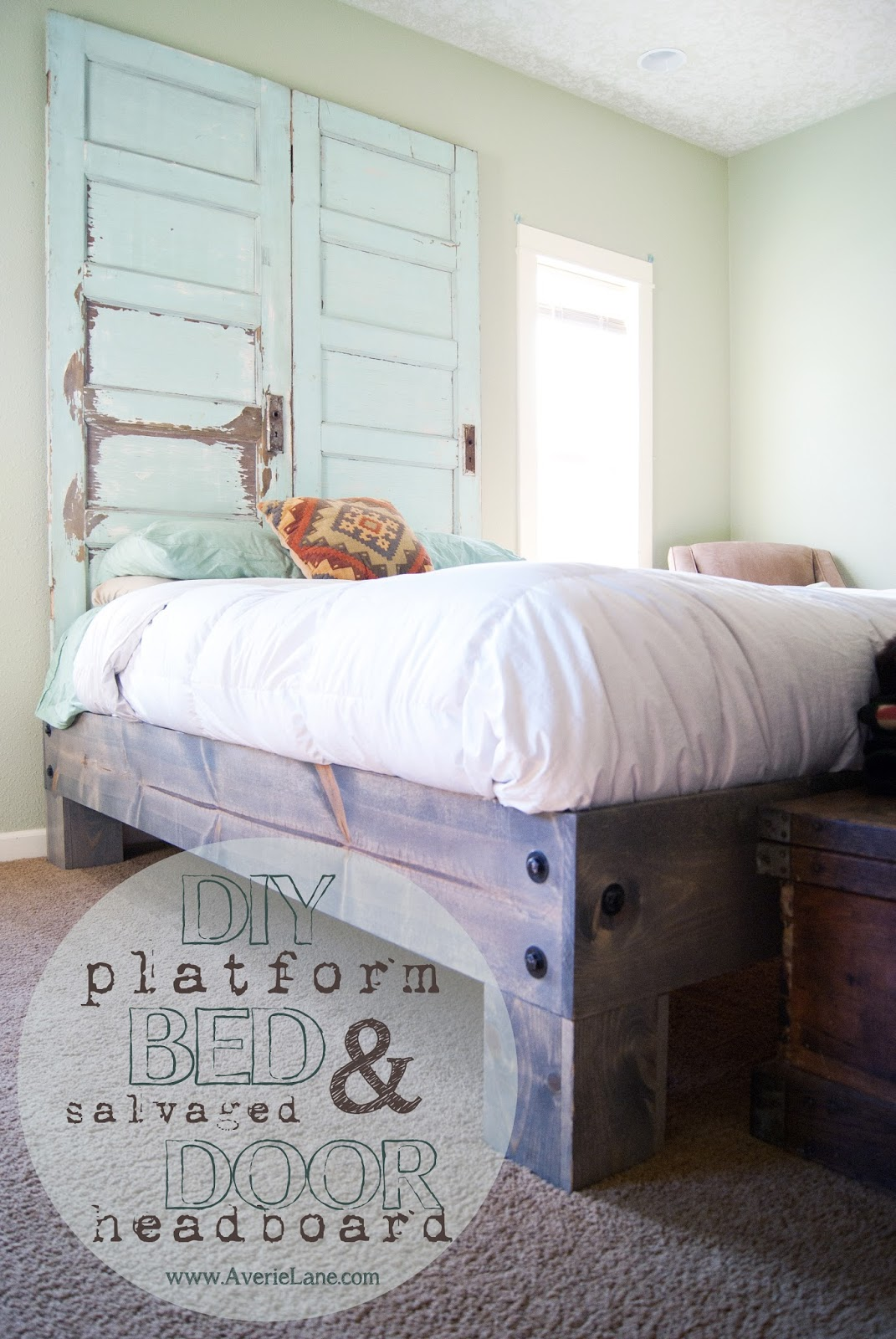Diy Platform Bed Salvaged Door Headboard