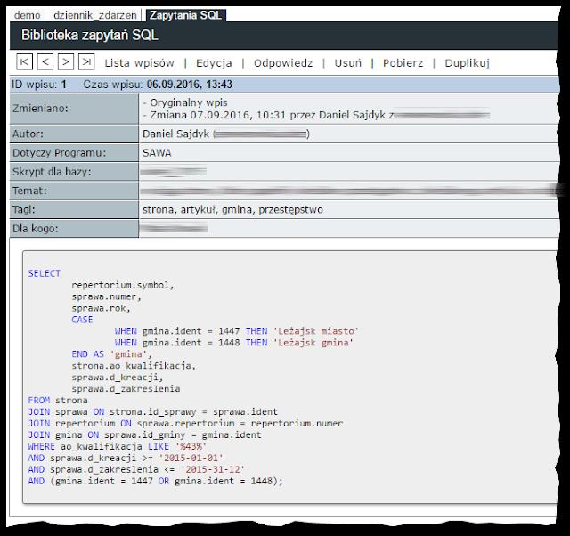 Aplikacja ELOG z zapytaniem SQL pokolorowanym skryptem highlightjs.org