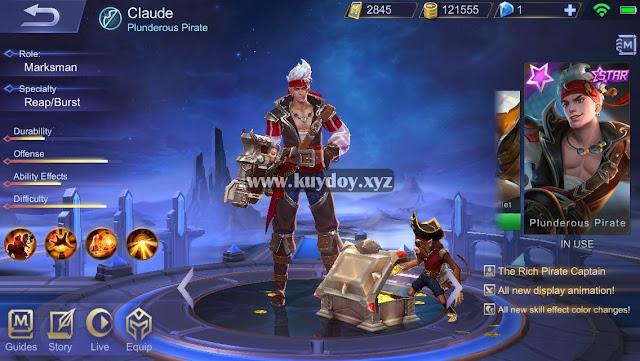 Download Script Skin Claude Starlight Mobile Legends