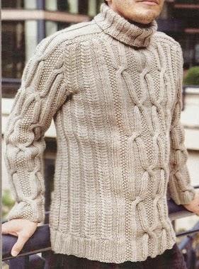 Suéter Hombre Trenzado a Dos Agujas