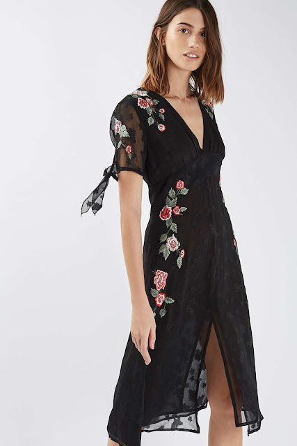 embroidered black dress red