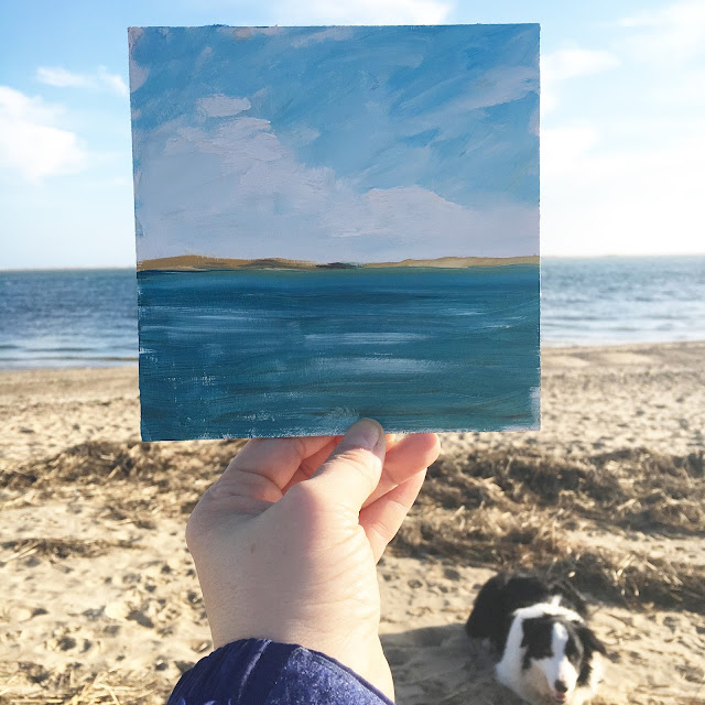 plein air painting at the beach, painting with dogs