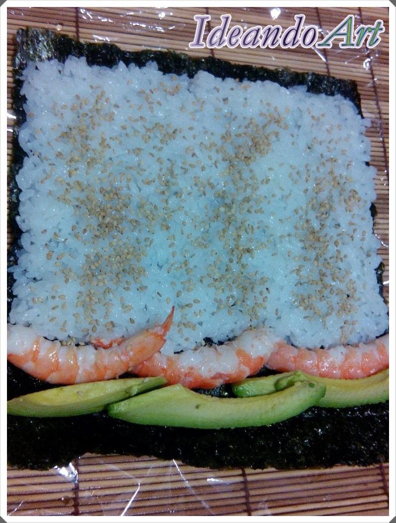 Colocación enrollar sushi