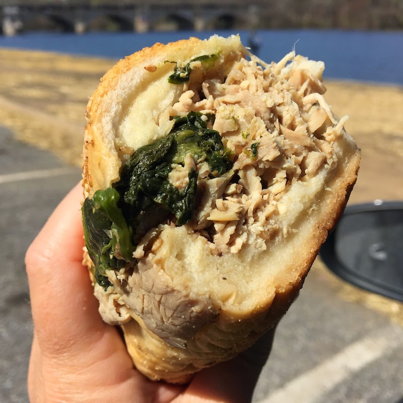 A close look at the roast pork and spinach sandwich from John's Roast Pork in Philadelphia