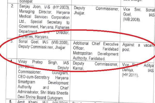 ias-sonal-goel-additional-ceo-faridabad-metropolitan-development-authority
