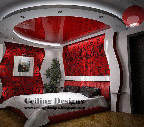 Circular Stretch Red Ceiling Design For Bedrooms With Tin Frame