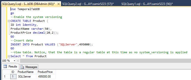 SAMIR KAZI`S DBA BLOG: Temporal Tables in SQL Server 2016