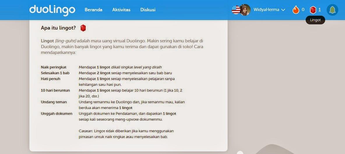 Lingot, Uang Virtual di Duolingo. Kursus Bahasa Inggris Gratis via Online