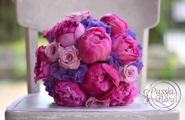 Romantyczny bukiet ślubny z hortensją