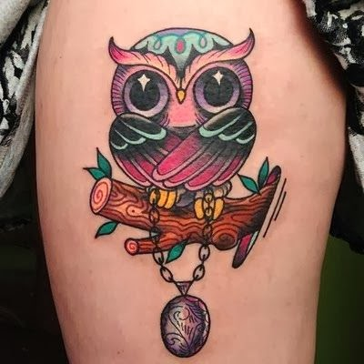 Beautiful Owl Leg Tattoo, only for girls.