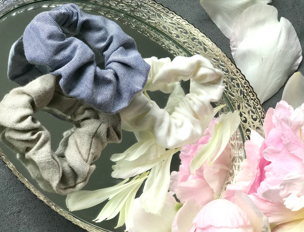 peony flower and hair scrunchies