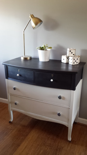 black and white farmhouse dresser