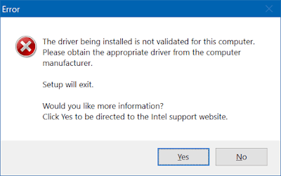 update driver grafis Intel untuk Windows  Mengatasi Error the driver being installed is not validated for this computer