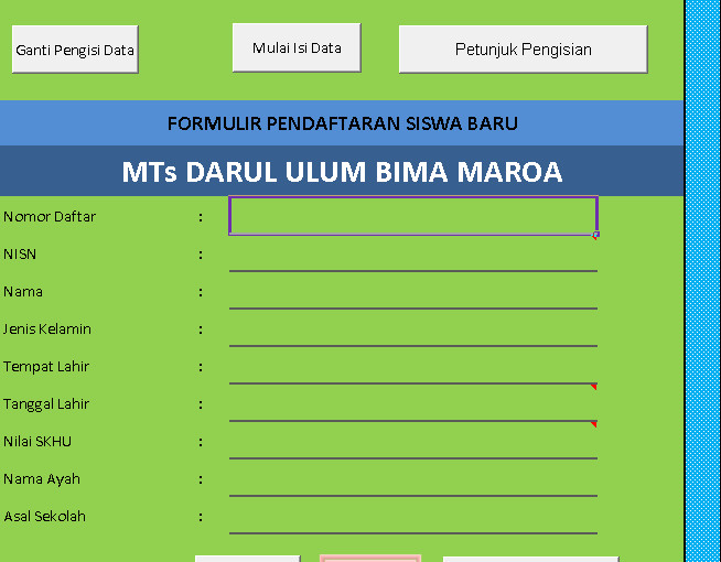 Download Aplikasi PPDB MTs Berbasis Ms. Excel Terbaru (New Update)