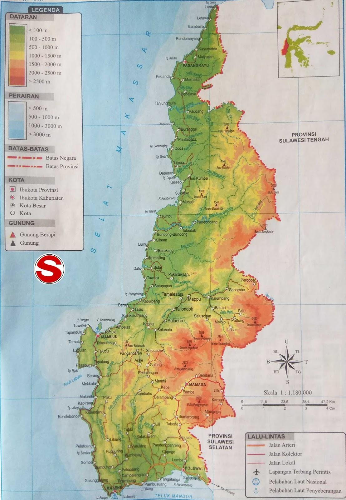 Peta Atlas Provinsi Sulawesi Barat di bawah ini mencakup peta dataran Peta Atlas Provinsi Sulawesi Barat