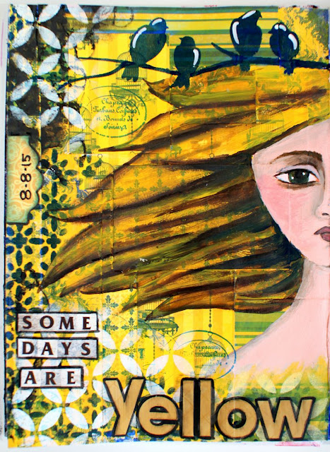 Some Days Are Yellow Art Journal Page by Ilene Tell using BoBunny Genevieve collection