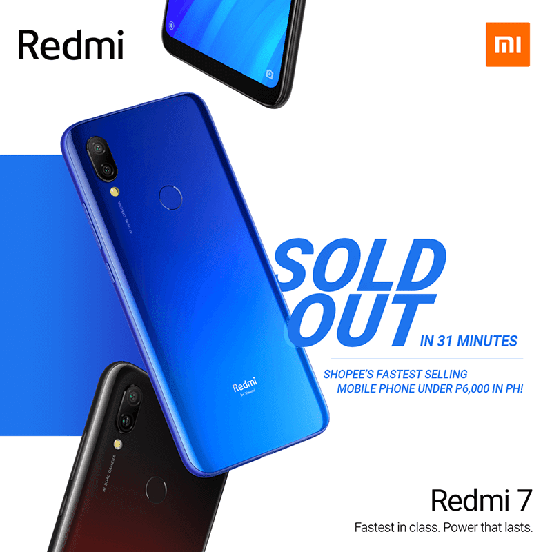 Redmi 7 is Shopee's the fastest-selling mobile phone under PHP 6K in PH!