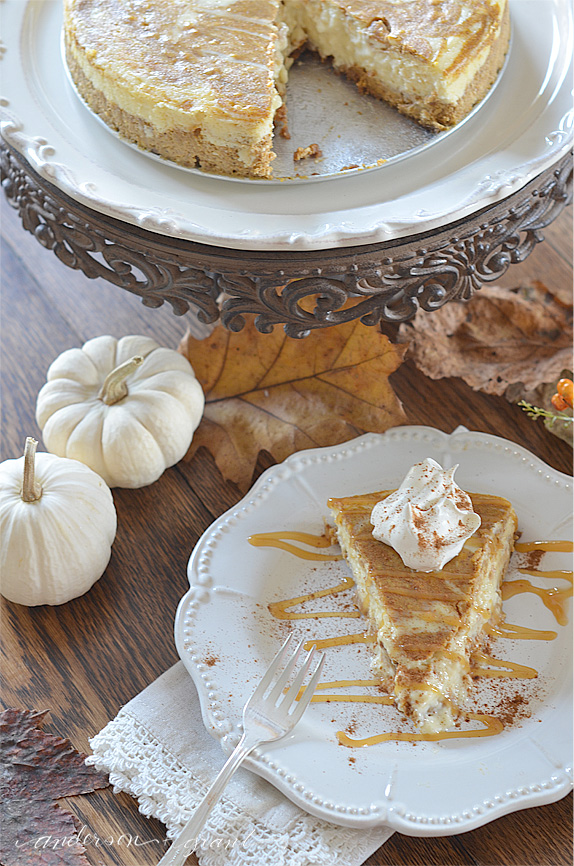 Pumpkin cheesecake on table
