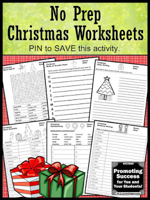 no prep Christmas worksheets