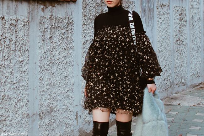 Japanese Fashion Blogger,MizuhoK,20180303OOTD in Seoul,South Korea= Bershla-faux fur jacket,UNIQLO-turtle neck knit,CHICWISH-star black tunic,SheIn-over the knee boots,ZARA-crossbody bag,bouth seoul earrings and rings