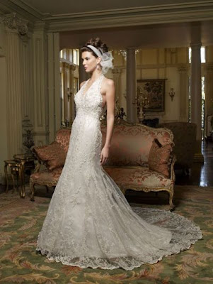 Bare back halter wedding dresses chapel train aline brocade organza