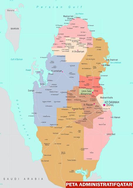 Gambar Peta Administratif Qatar