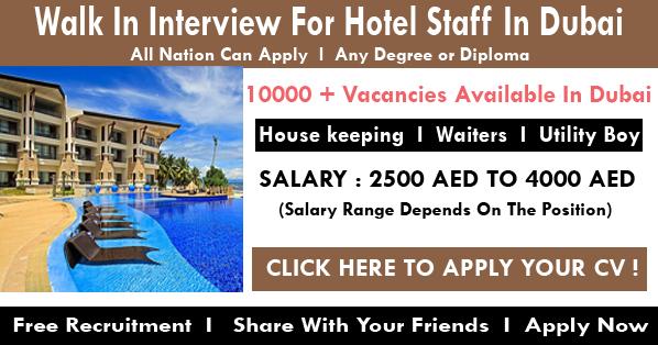 Dubai Hotel Staff Job Recruitment 2018 Apply Now