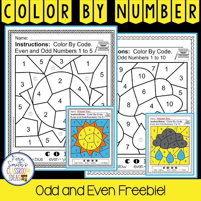 Free Even and Odd Numbers Color By Numbers Freebie perfect for first grade, second grade and third grade, two different free printables and answer keys for Second Grade Go Math Chapter One Lesson 1.1 from Fern Smith's Classroom Ideas at TpT, TeachaerspayTeachers.