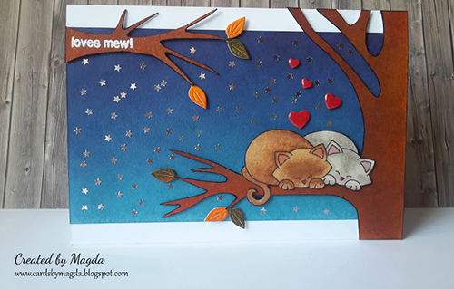 Cats snuggling in Tree Card by Magda | Newton's Antics Stamp set by Newton's Nook Designs #newtonsnook